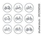 bikes line icons  bicycle ... | Shutterstock .eps vector #392558500