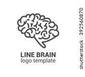 brain logo template. outline... | Shutterstock . vector #392560870