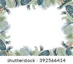 vector tropical foliage frame ... | Shutterstock .eps vector #392566414