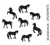 black horse silhouette set...   Shutterstock .eps vector #392569873
