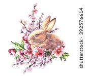 watercolor easter bunny with... | Shutterstock . vector #392576614
