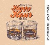 retro design happy hour drink... | Shutterstock .eps vector #392579269