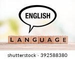 english language lesson sign... | Shutterstock . vector #392588380