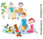 living and three generation...   Shutterstock .eps vector #392602774