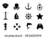 marine  sea  ocean icon set.... | Shutterstock .eps vector #392605594