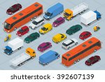 Stock vector car icons flat d isometric high quality city transport sedan van cargo truck off road bus 392607139
