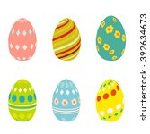 flat easter eggs icons isolated ...   Shutterstock . vector #392634673