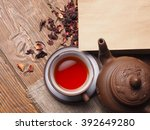 Asian Tea Clay Set On Wooden...