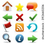 set of rounded icons buttons... | Shutterstock .eps vector #392660206