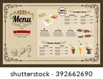restaurant food menu vintage... | Shutterstock .eps vector #392662690