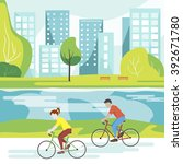 vector illustration of cyclists ... | Shutterstock .eps vector #392671780