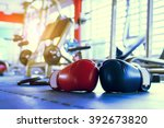 red and blue boxing gloves... | Shutterstock . vector #392673820