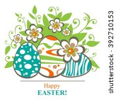 easter egg and butterflies on a ... | Shutterstock .eps vector #392710153