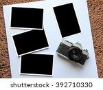 vintage film camera and  blank  ... | Shutterstock . vector #392710330