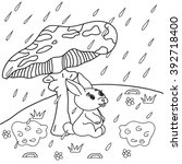 coloring book rain   bunny sits ... | Shutterstock .eps vector #392718400