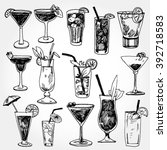 set of coctails hand drawn | Shutterstock .eps vector #392718583