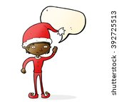 cartoon waving christmas elf... | Shutterstock .eps vector #392725513