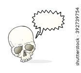 cartoon spooky old skull with... | Shutterstock .eps vector #392739754
