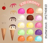 Stock vector  different favors and colors ice cream scoops and waffle cone 392740810