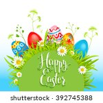spring holiday card with eggs... | Shutterstock .eps vector #392745388