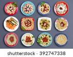 top down view on twelve square... | Shutterstock . vector #392747338