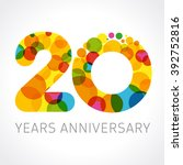 20 years old multicolored... | Shutterstock .eps vector #392752816
