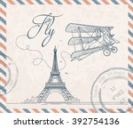 retro postage stamp with... | Shutterstock .eps vector #392754136
