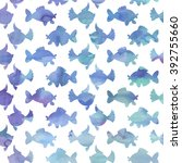 pattern with different fishes... | Shutterstock .eps vector #392755660