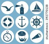 set of sea objects silhouette... | Shutterstock .eps vector #392770138