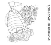 hand drawn doodle outline  boat ...   Shutterstock .eps vector #392794078