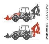 two detailed excavators in gray ...   Shutterstock .eps vector #392796340