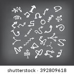 arrow doodle set on black board | Shutterstock . vector #392809618