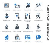 e commerce icons set 1   blue... | Shutterstock .eps vector #392812849