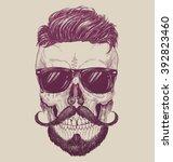 hipster skull with sunglasses ... | Shutterstock .eps vector #392823460