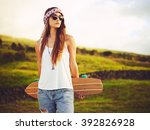 beautiful young woman with... | Shutterstock . vector #392826928