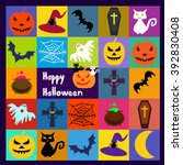 halloween vector icons set.... | Shutterstock .eps vector #392830408