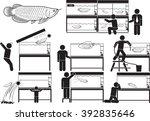 arowana and husbandry icon set | Shutterstock .eps vector #392835646