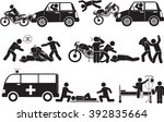 accident of motorbike icon set | Shutterstock .eps vector #392835664