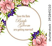 invitation with floral... | Shutterstock .eps vector #392845210