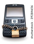 Blocked mobile phone with a chain and lock isolated - stock photo