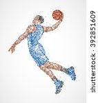 abstract basketball player in... | Shutterstock .eps vector #392851609