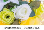 green and white roses plastic... | Shutterstock . vector #392853466