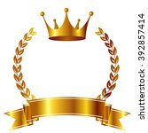 crown laurel ribbon icon | Shutterstock .eps vector #392857414