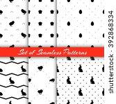 set of monochrome seamless... | Shutterstock .eps vector #392868334