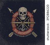 pirate skull logo in grunge...   Shutterstock .eps vector #392886220