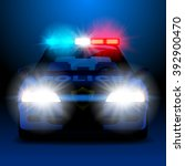 police car in night with lights ... | Shutterstock .eps vector #392900470