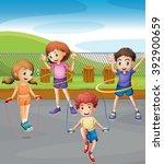 boys and girls exercising in... | Shutterstock .eps vector #392900659