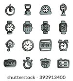 clock icons set 2 freehand 2... | Shutterstock .eps vector #392913400