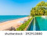 beautiful luxury hotel swimming ... | Shutterstock . vector #392913880