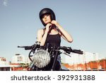 Biker Girl Sits On Vintage...